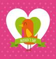 cute bird in hearts love mothers day dotted vector image
