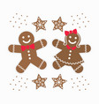 cute brown gingerbread girl and boy couple cookies vector image