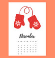 december 2018 year calendar page vector image vector image