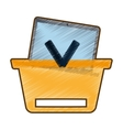 drawing basket buying online laptop vector image vector image
