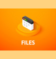 files isometric icon isolated on color background vector image vector image