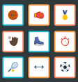 flat icons second meter ball glove and other vector image vector image