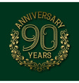Golden emblem of ninetieth years anniversary vector image vector image
