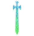 halftone blue-green medieval sword icon vector image vector image