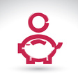 Hand drawn pink piggybank icon brush drawing coin vector image