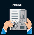 hands with puzzle pieces in shape statistical vector image