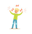 happy blonde boy laughing out loud colorful vector image vector image