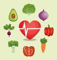 heart cardio with healthy food vector image
