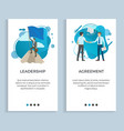leadership and agreement people posters set vector image vector image