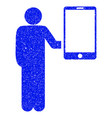 man holds smartphone grunge icon vector image vector image