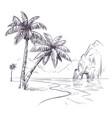palm tree landscape sketch tropical palms ocean vector image vector image