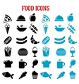 Restaurant and fast food flat icons vector image