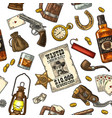 seamless pattern wild west vintage vector image vector image