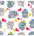 seamless pattern with happy elephant vector image vector image