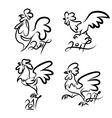 set cute hand drawn characters rooster vector image vector image