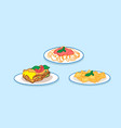 set spaghetti pasta lasagne with basil and tomato vector image