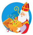 sinterklaas holding a box surprises vector image vector image