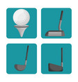 sport golf clubs and ball set vector image vector image