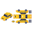 taxi car paper cut toy worksheet with gaming vector image vector image