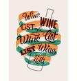 Typographic retro grunge style wine list design vector image