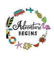 and so the adventure begins hand drawn vector image vector image