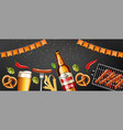 beer pretzel and grilled sausage realistic vector image vector image