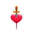 bleeding heart stabbed sword isolated vector image