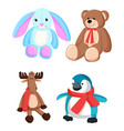 bunny and teddy bear toys vector image vector image