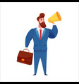 business man with suitcase and megaphone vector image vector image