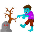 cartoon zombie walking in cemetery vector image vector image