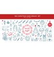 christmas decoration hand drawn set set vector image
