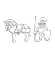 coloring page of cartoon medieval knight prepering vector image