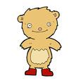 comic cartoon teddy bear wearing boots vector image vector image