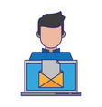 computer with envelope vector image vector image