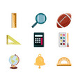 education supply study school stationery icons set vector image