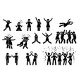 female girl or woman celebration poses and vector image