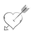 figure arrow inside romantic heart design vector image vector image