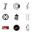 flat icon parts set of cambelt belt conrod and vector image vector image