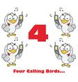 Four calling birds cartoon vector image vector image