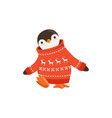 funny cute penguin toon character in a red vector image vector image