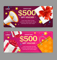 gift voucher card set vector image vector image