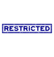 grunge blue restricted word square rubber seal vector image
