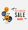 halloween sale web banner with balloons vector image vector image