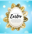 happy easter greeting banner eggs around vector image