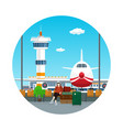 icon waiting room with a woman and luggage vector image vector image