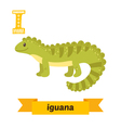 Iguana I letter Cute children animal alphabet in vector image