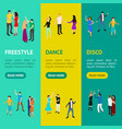 isometric dancing people characters banner vector image vector image