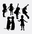 kid playing action silhouette vector image vector image