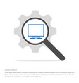 laptop icon search glass with gear symbol icon vector image vector image