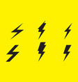 lightning icon set on yellow background vector image